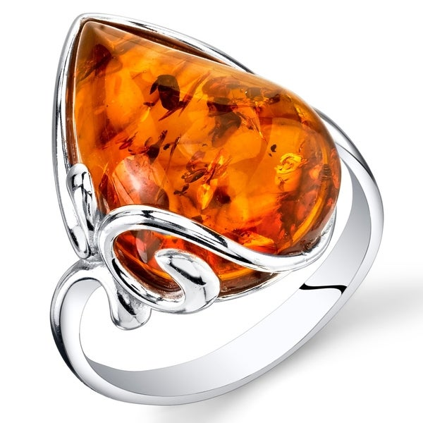 Large Amber Teardrop Ring in Sterling Silver. Opens flyout.