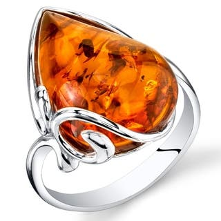 Large Amber Teardrop Ring in Sterling Silver