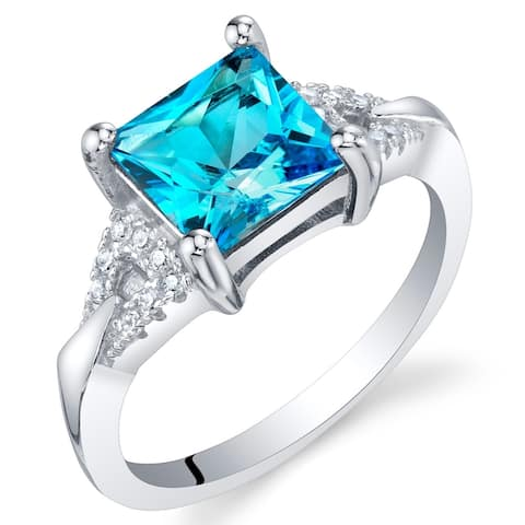 2 ct Princess Cut Swiss Blue Topaz Ring in Sterling Silver