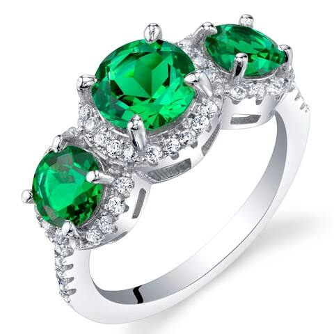 1 ct Round Simulated Emerald Halo Ring in Sterling Silver