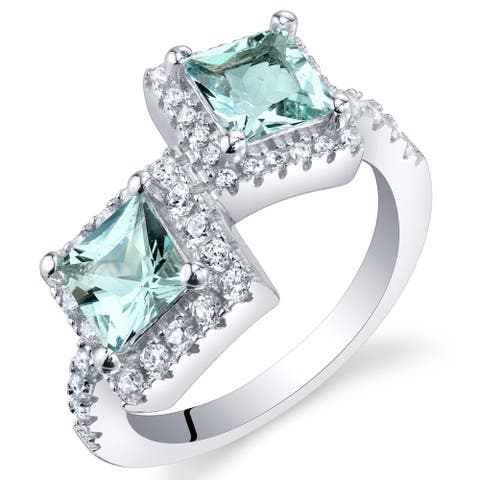 1 ct Princess Cut Aquamarine Two-stone Ring in Sterling Silver