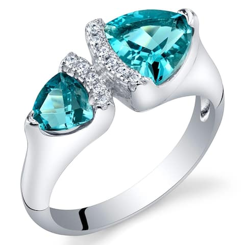 1.75 ct Trillion Cut London Blue Topaz Two-stone Ring in Sterling Silver