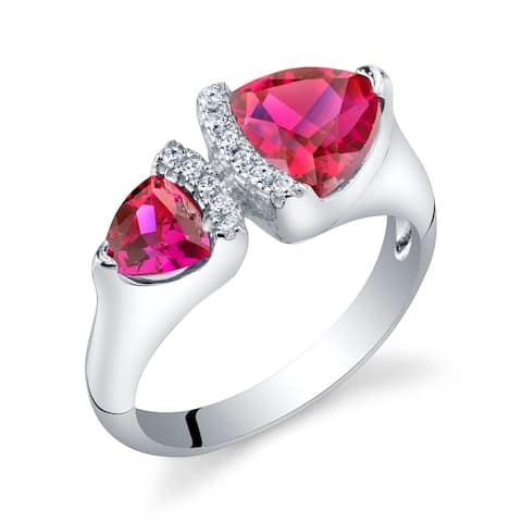1.5 ct Trillion Cut Created Ruby Two-stone Ring in Sterling Silver