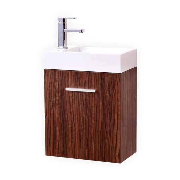"Bliss 18"" Walnut Wall Mount Modern Bathroom Vanity"