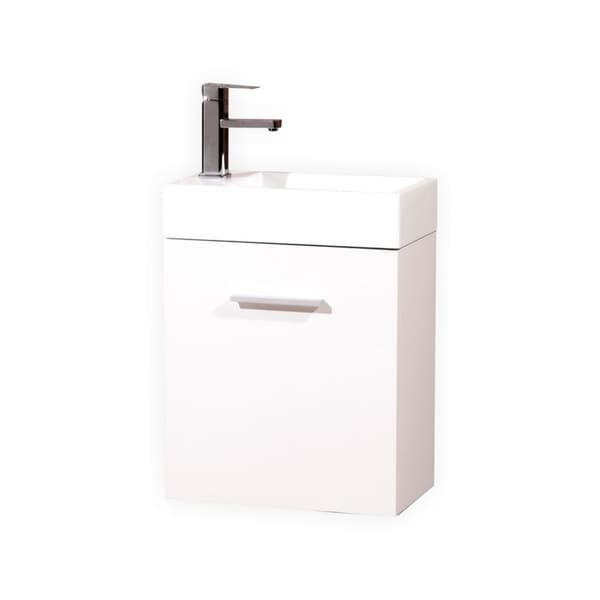 "Bliss 18"" High Gloss White Wall Mount Modern Bathroom Vanity"