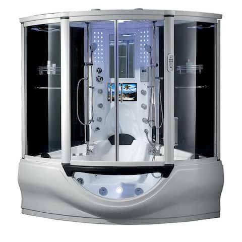 "Luxury Superior Steam Shower Spa Sauna w/ Jetted jacuzzi Whirlpool Massage Bathtub Spa, Bluetooth, Phone, 12"" Android Tablet TV"