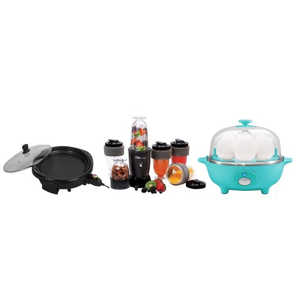 Electric Egg Poacher, Electric Nonstick Grill, 17 Piece Drink Blender
