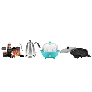 Egg Poacher, Electric Grill, 17 Piece Drink Blender & Electric Kettle
