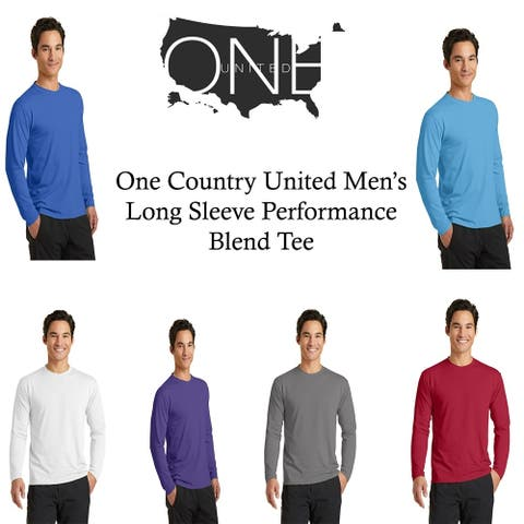 One Country United Men's Long Sleeve Performance Blend Tee.
