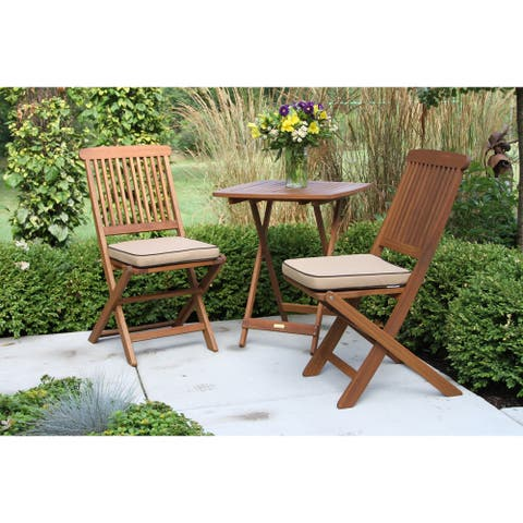 3pc. Square Bistro Set with Beige Cushions