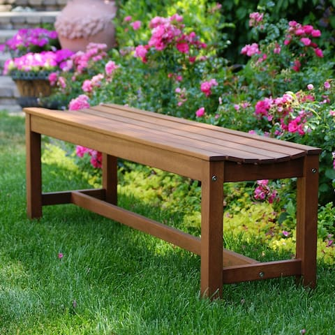 Eilaf Eucalyptus 3-person Backless Bench by Havenside Home