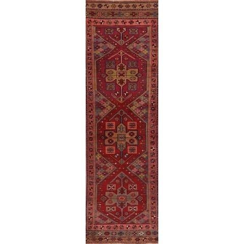"Vintage Geometric Red Oushak Oriental Runner Rug Handmade Wool Carpet - 2' 11"" x 10' 5"" Runner"