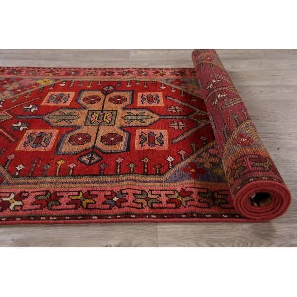 Vintage Geometric Red Oushak Oriental Runner Rug Handmade Wool Carpet 2 11 X 10 5 Runner On Sale Overstock 30259914