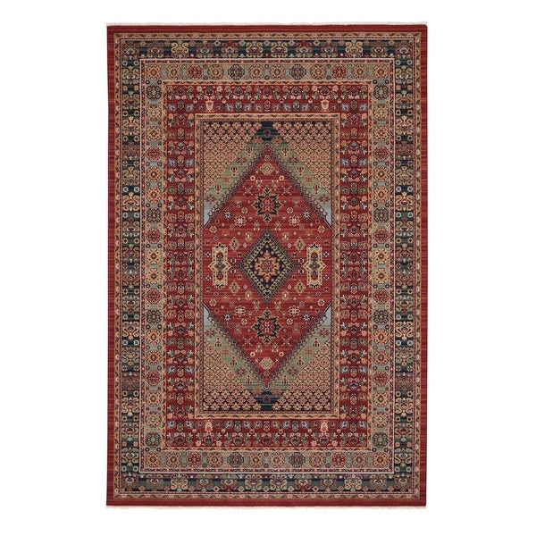 "Kindred-Heriz Sienna Green Oriental Machine Woven Rectangle Rug - 5' 3"" x 7' 10"""