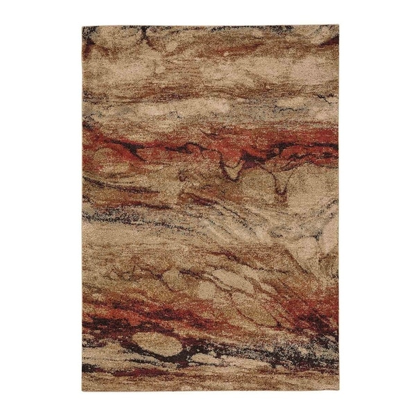 "Gravel-Marble Chalcedony Abstract Machine Woven Rectangle Rug - 5' 3"" x 7' 6"""