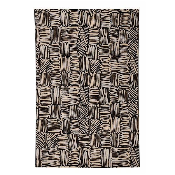 """Etching Coal Abstract Machine Woven Rectangle Rug - 5' 3"""" x 7' 6"""""""