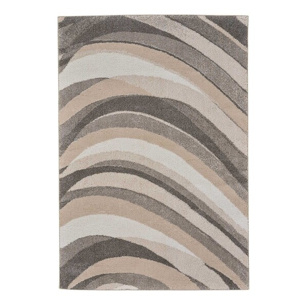 "Gravel-Wave Smoky Quartz Abstract Machine Woven Rectangle Rug - 3' 11"" x 5' 6"""