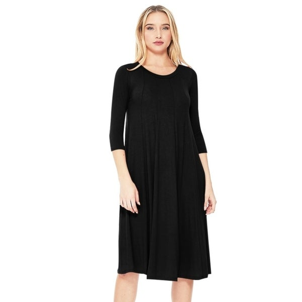 Women's Solid Basic A-Line Casual Midi Dress. Opens flyout.