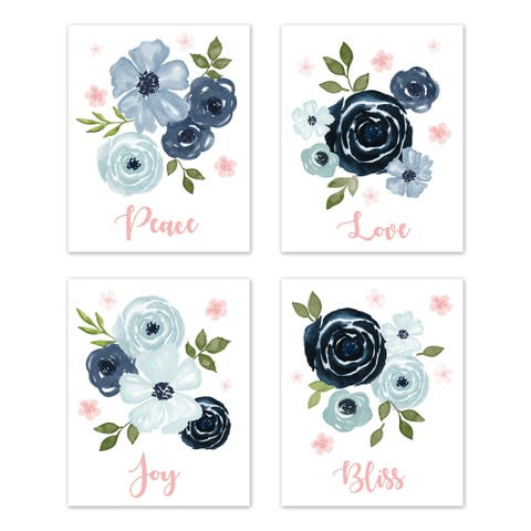 Sweet Jojo Designs Navy Blue and Pink Watercolor Floral Wall Art Prints (Set of 4) - Blush Green White Shabby Chic Rose Flower