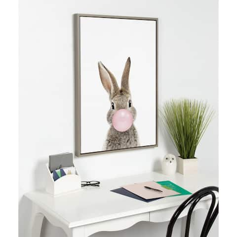 Kate and Laurel Sylvie Bubblegum Bunny Framed Canvas By Amy Peterson