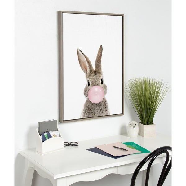 Kate and Laurel Sylvie Bubblegum Bunny Framed Canvas By Amy Peterson. Opens flyout.