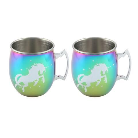 Cambridge Silversmiths 2 Pack of Rainbow Unicorn Moscow Mule Mugs, 20 Ounces - 20 ounces