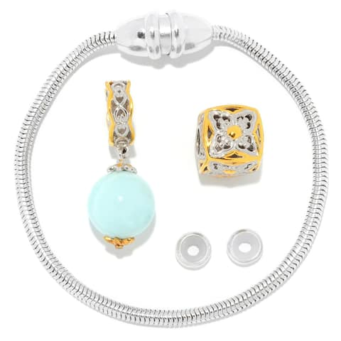Gems en Vogue Palladium Silver Magnetic Clasp Bracelet with Blue Opal Bead & Slide-on Cube Charms