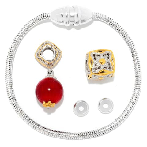 Gems en Vogue Palladium Silver Magnetic Clasp Bracelet with Red Coral & Slide-on Cube Charms
