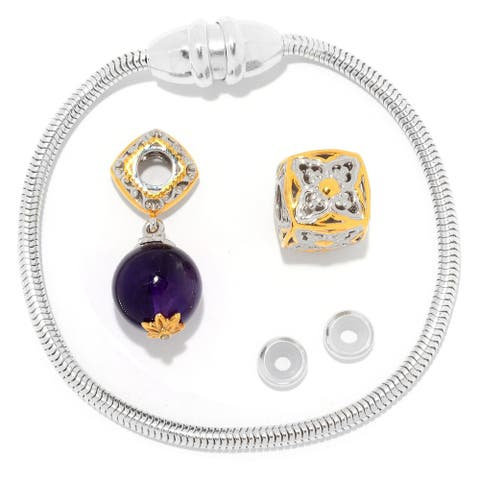Gems en Vogue Palladium Silver Magnetic Clasp Bracelet with Amethyst Bead & Slide-on Cube Charms