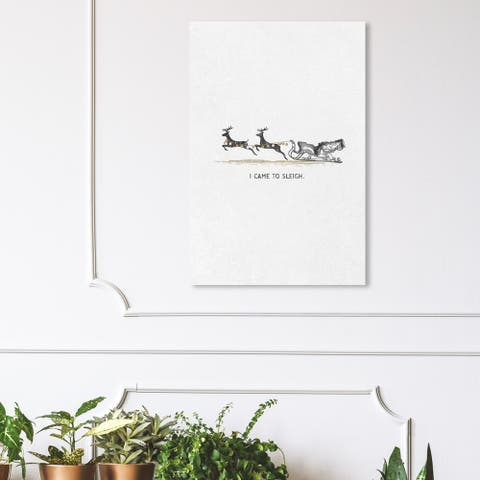 Wynwood Studio Holiday and Seasonal Wall Art Canvas Prints 'Came to Sleigh' Christmas Home Décor - Black, Gray