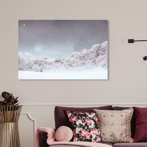 Wynwood Studio Holiday and Seasonal Wall Art Canvas Prints 'Untitled Snow' Winter Home Décor - Blue, Gray