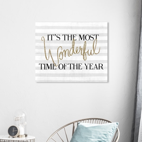 Wynwood Studio Holiday and Seasonal Wall Art Canvas Prints 'Wonderful Time Glitter' Christmas Home Décor - Gray, Gold