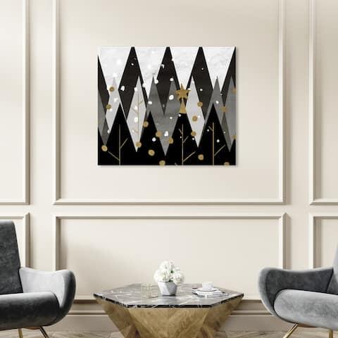 Wynwood Studio Holiday and Seasonal Wall Art Canvas Prints 'Monochrome Christmas' Christmas Home Décor - Black, Gold