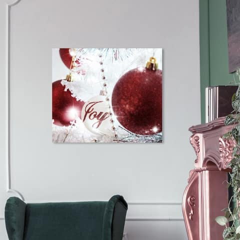 Wynwood Studio Holiday and Seasonal Wall Art Canvas Prints 'Christmas Ornaments' Christmas Home Décor - Red, White