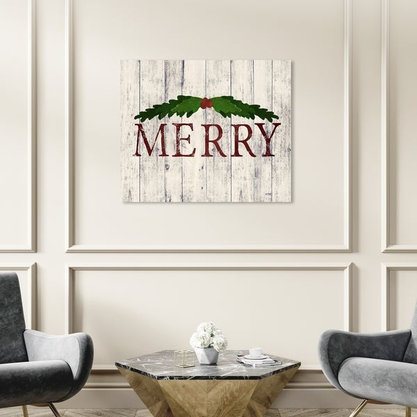 Wynwood Studio Holiday and Seasonal Wall Art Canvas Prints 'Merry Wood' Christmas Home Décor - Red, Green