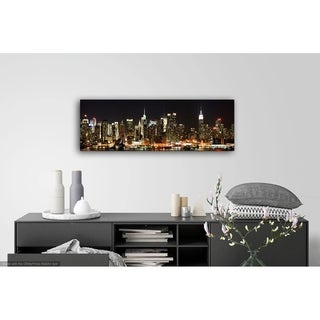 New York at Night Photography Canvas Art - 12 x 36
