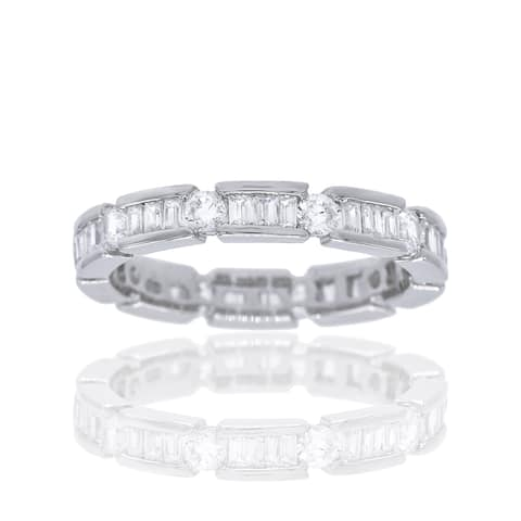 Eternity Band with Clear Cubic Zirconia Baguette and Round Shape Stones