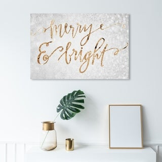 Link to Wynwood Studio Holiday and Seasonal Wall Art Canvas Prints 'Merry & Bright' Christmas Home Décor - Gray, Gold Similar Items in Christmas Decorations