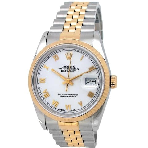 Pre-owned 36mm Rolex 18k Yellow Gold and Stainless Steel Oyster Perpetual Datejust Watch