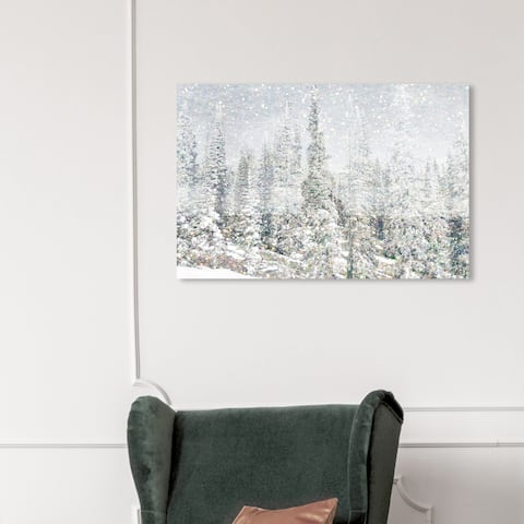 Wynwood Studio Holiday and Seasonal Wall Art Canvas Prints 'Magic Snow Trees' Winter Home Décor - Gray, White