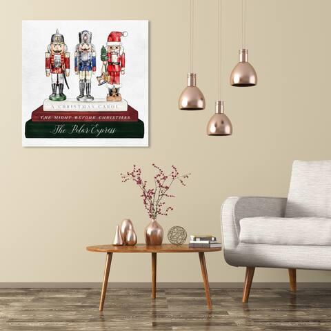 Wynwood Studio Holiday and Seasonal Wall Art Canvas Prints 'Holiday Nutcracker Books' Christmas Home Décor - Green, Red