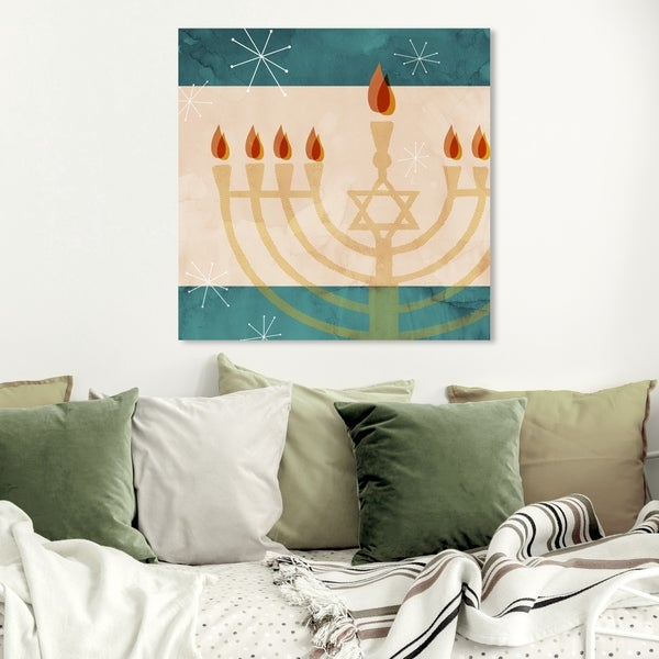 Wynwood Studio Holiday and Seasonal Wall Art Canvas Prints 'Modern Hanukkah' Holiday Home Décor - Red, Yellow
