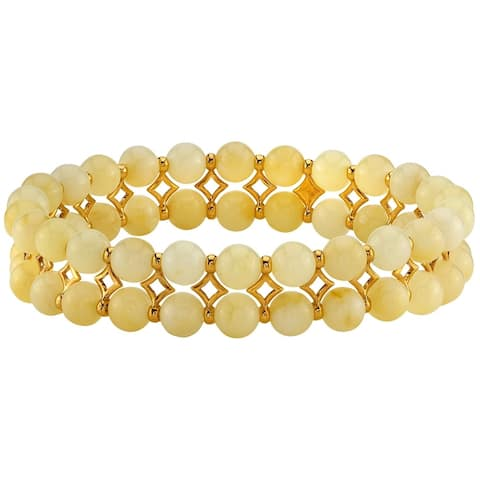 Baltic Amber Butterscotch Color Tennis Stretch Bracelet for Women, 7 inches