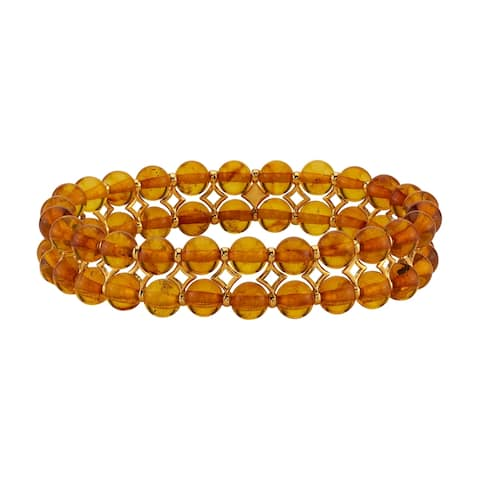 Baltic Amber Cognac Color Tennis Stretch Bracelet for Women, 7 inches