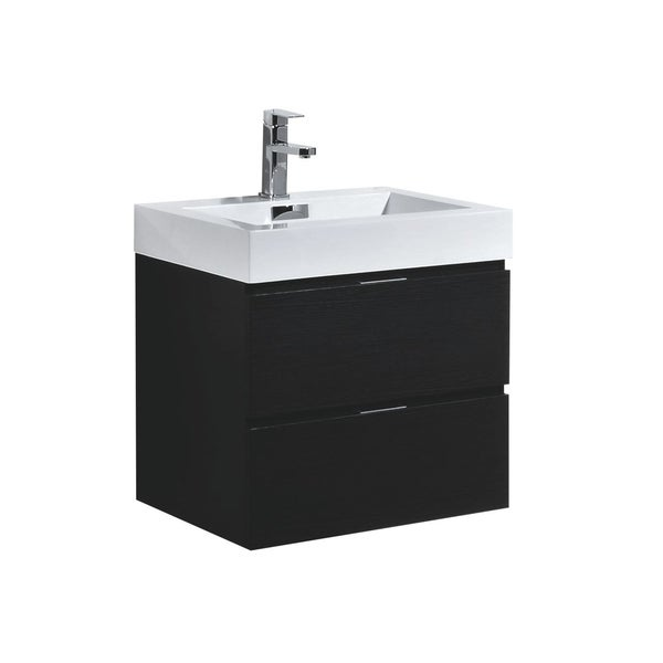 "Bliss 24"" Black Wall Mount Modern Bathroom Vanity"