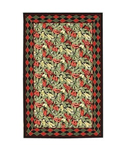 Nourison Hand-hooked Country Heritage Black Wool Rug (8' Round)