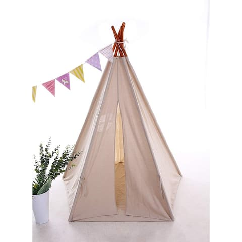 Teepee Tent for Kids with Carry Case,Cavas Toys for Girls/Boys Girls