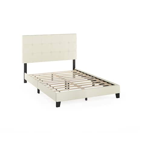 Furinno Laval Button Tufted Bed Frame, 12PC Slat Style