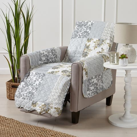 Great Bay Home Patchwork Scalloped Printed Recliner Protector