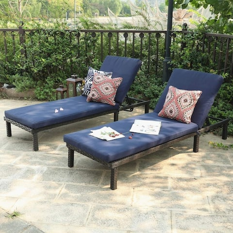 Aiduma Outdoor Wicker Chaise Lounge Chairs (Set of 2) by Havenside Home